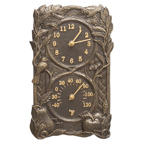 Whitehall Fruit & Bird Combo Clock-Thermometer in Frencb Bronze