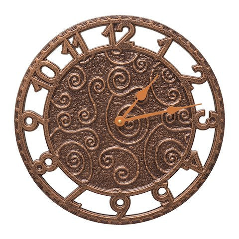 Flourish Indoor Outdoor Wall Clock in Antique Copper
