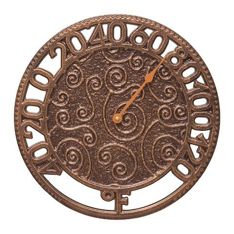 Flourish Indoor Outdoor Wall Thermometer in Antique Copper