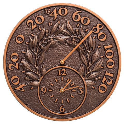 Bay Leaf Indoor Outdoor Wall Clock-Thermometer in Antique Copper