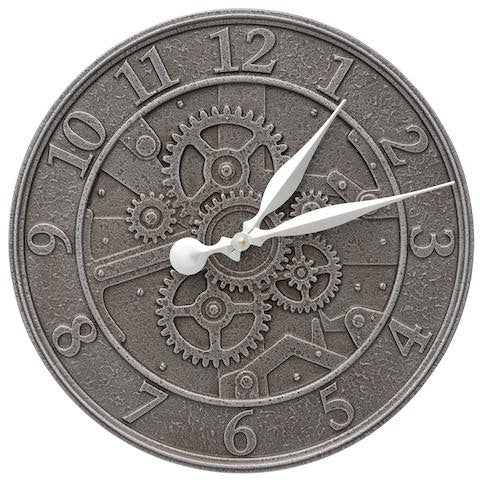 "16"" Gear Indoor Outdoor Wall Clock in Aged Iron"