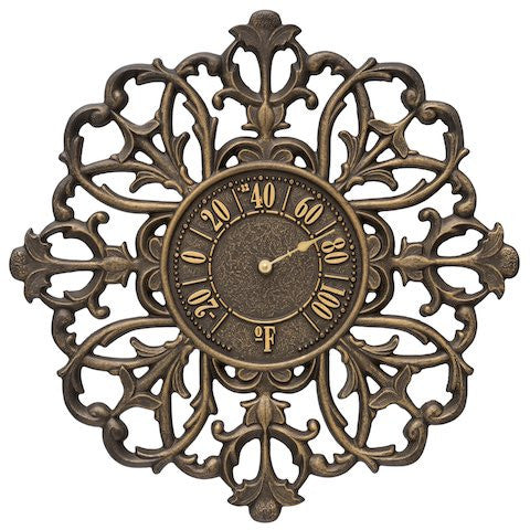 Filigree Silhouette Indoor Outdoor Wall Thermometer in Aged Bronze