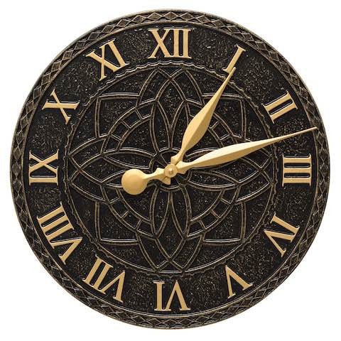 Artisan Indoor Outdoor Wall Clock in Black & Gold