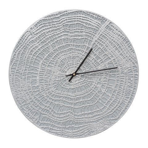 End Grain Indoor Outdoor Wall Clock in Grey / Silver