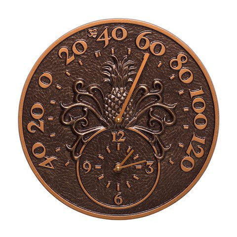 Pineapple Indoor Outdoor Wall Clock-Thermometer in Antique Copper
