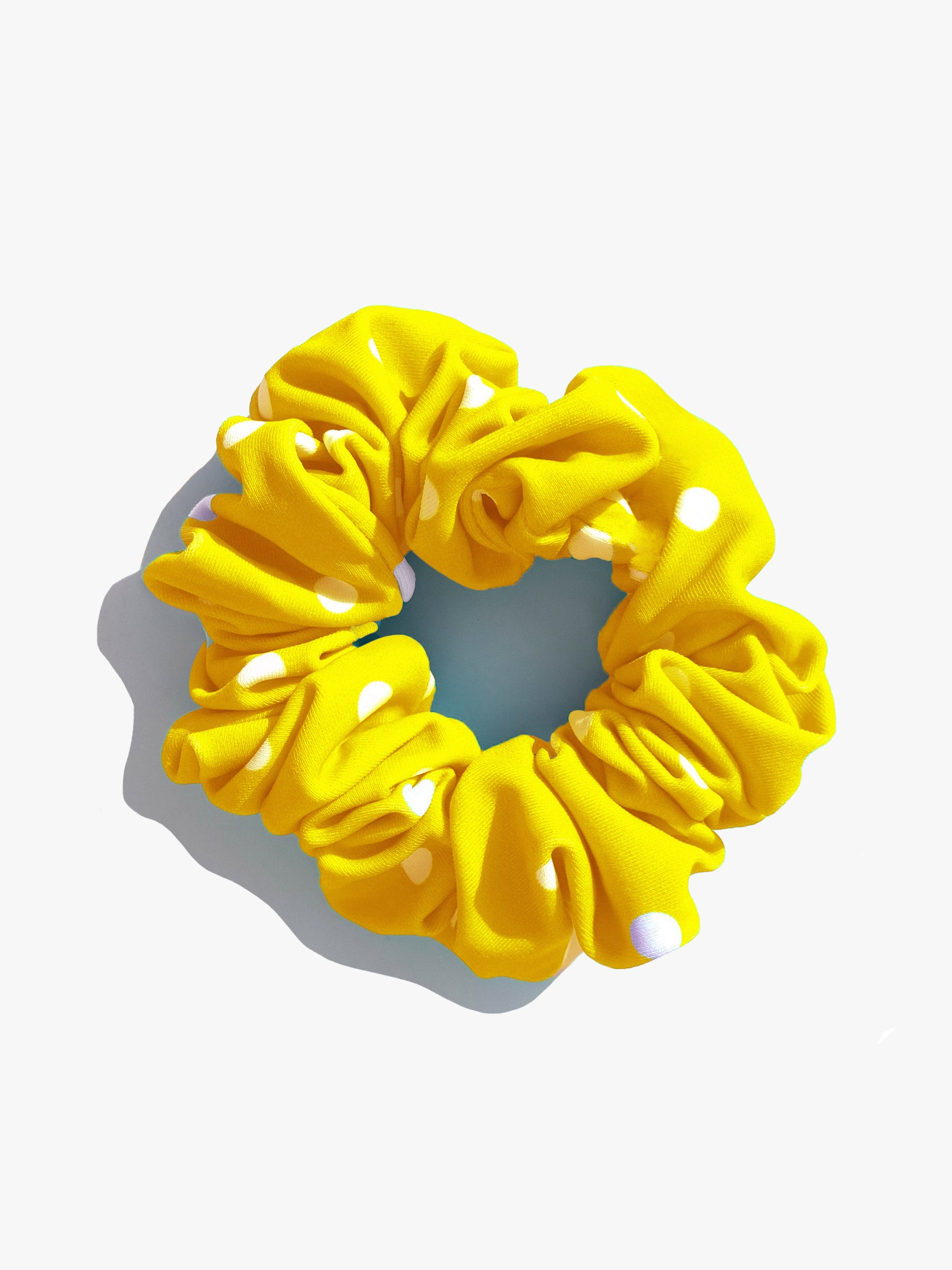 Yellow Polka Scrunchie