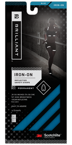 Blue Reflective Iron-On Safety Strips