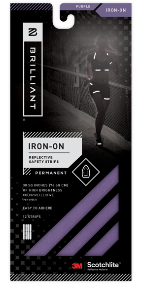 Purple Reflective Iron-On Safety Strips
