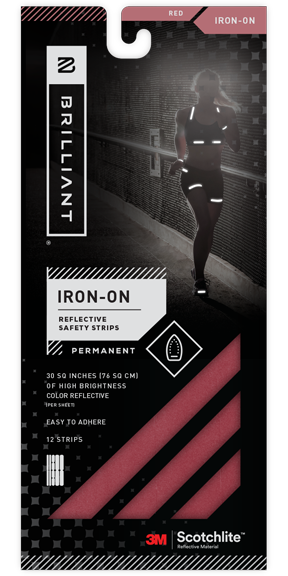 Red Reflective Iron-On Safety Strips