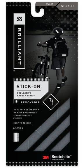 Black Reflective Stick-On Strips