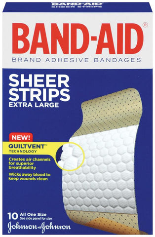 "BAND-AID® 1.75"" X 4"" SHEER EXTRA LARGE Adhesive Strips"