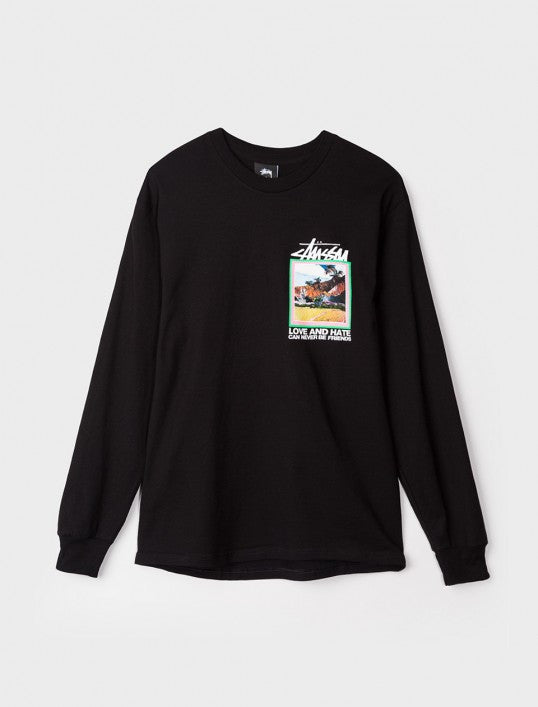 CAMISETA STUSSY LOVE AND HATE LS TEE black   SALES 60%