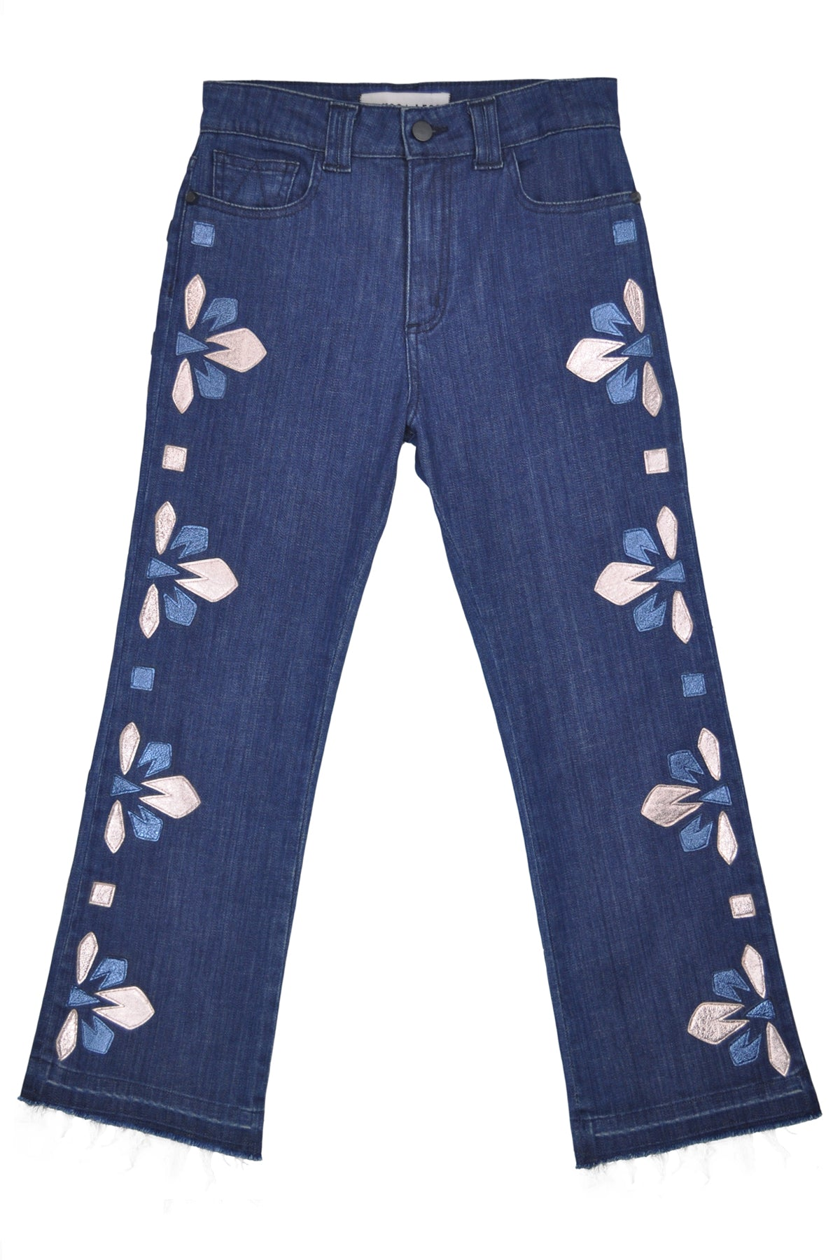MCVIE CROPPED FLARE - DECO BLOOM LEATHER APPLIQUE
