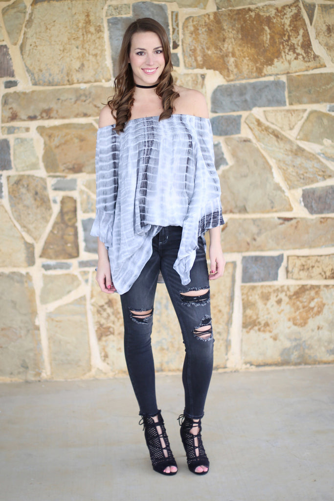 3f951416666 The Right Vibe Tie Dye Off The Shoulder Tunic, Charcoal – Agape ...