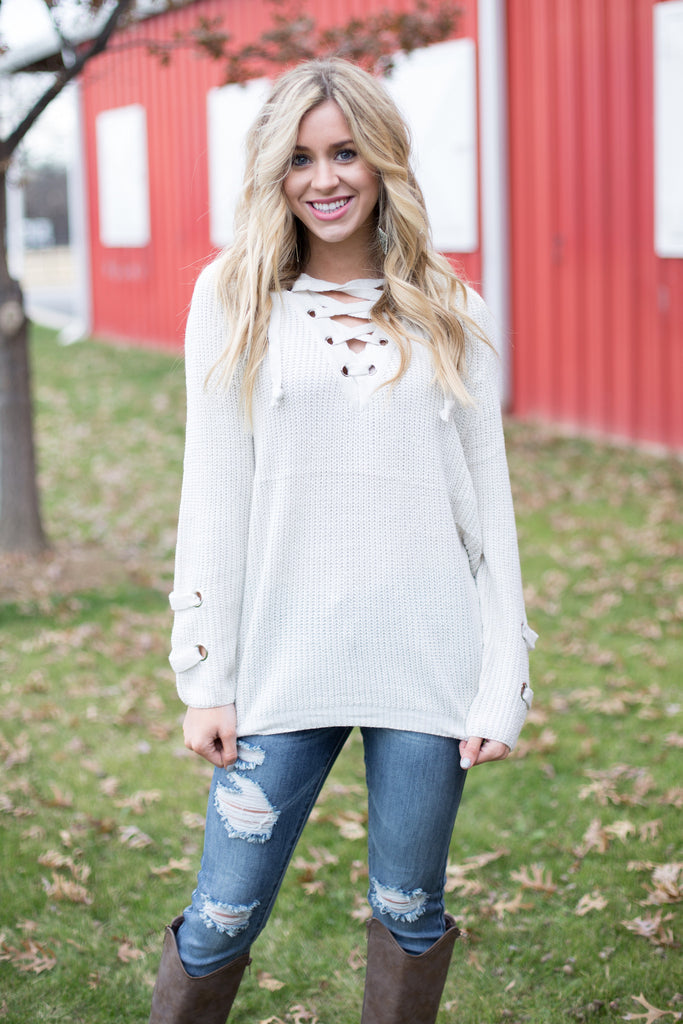 Sweeter In A Lace Up Sweater afacb4066