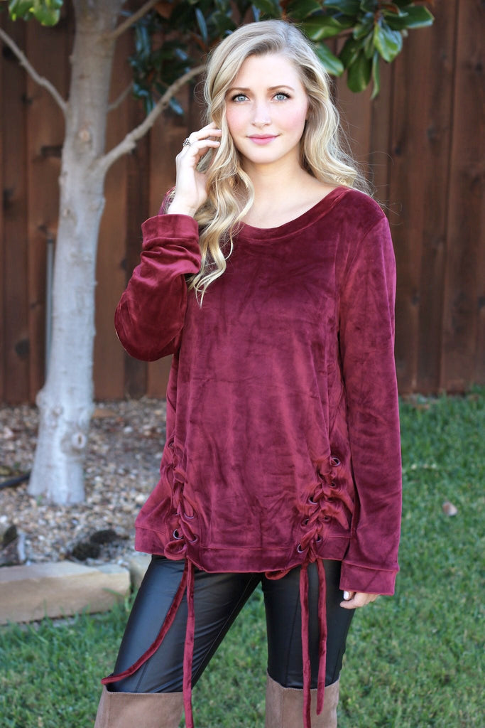 bbd40cd853 ... More In Love Lace Up Velvet Tunic