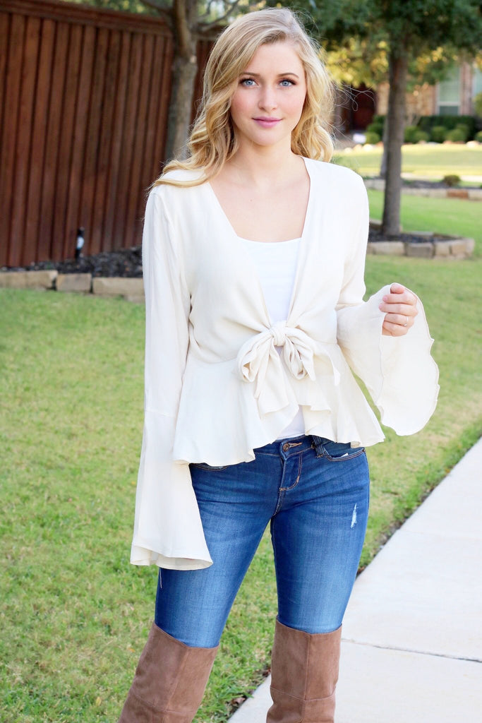 0e058021736 Ready For Love Bell Sleeve Tie Peplum Blouse, Cream – Agape Clothing  Boutique