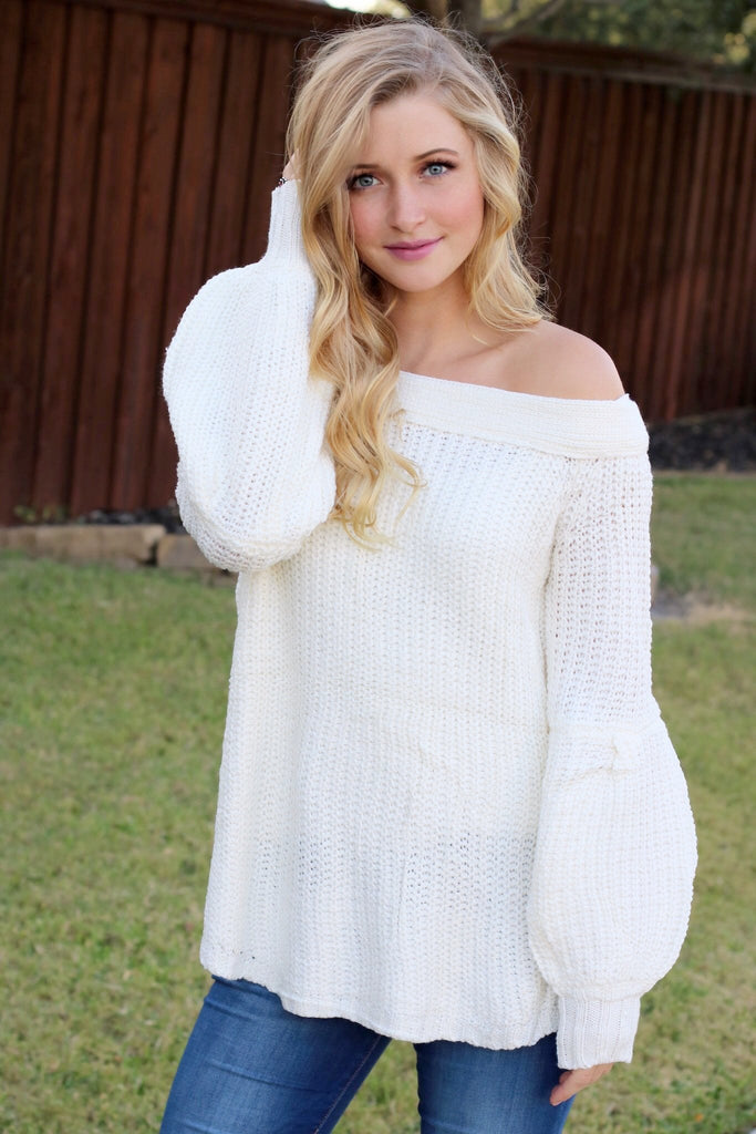 63a1cc06edf187 Oh So Sweet Off The Shoulder Puffy Sleeve Sweater, Cream – Agape Clothing  Boutique