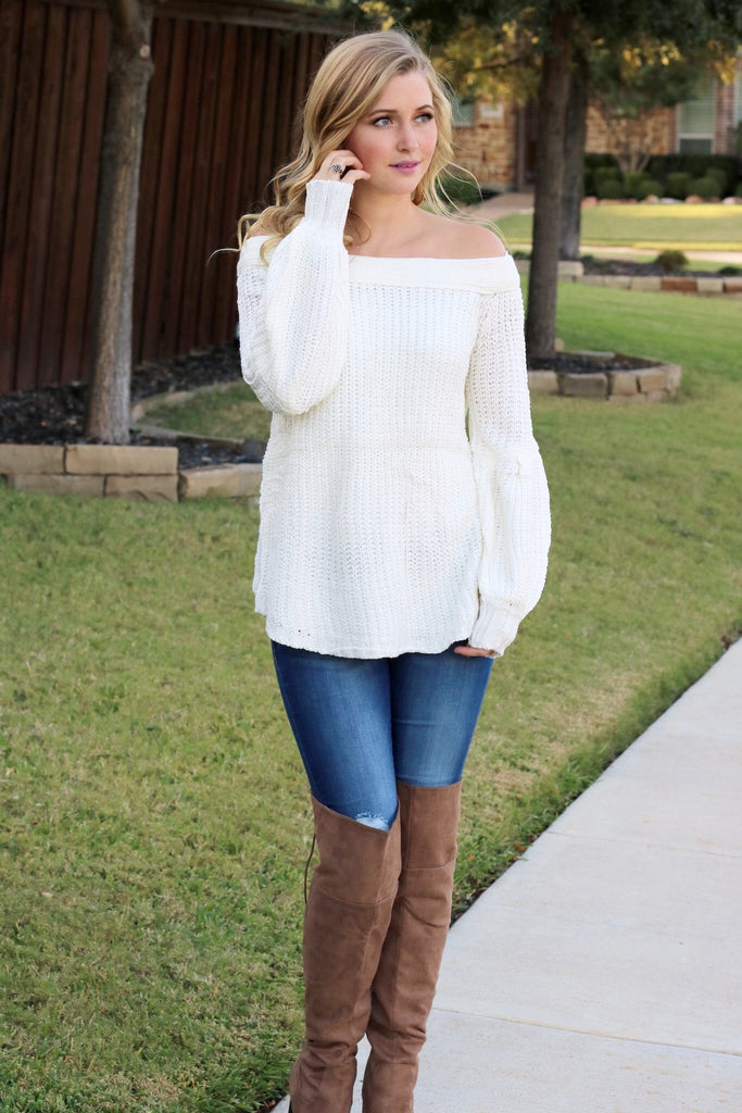 f194004380444a Oh So Sweet Off The Shoulder Puffy Sleeve Sweater, Cream – Agape ...