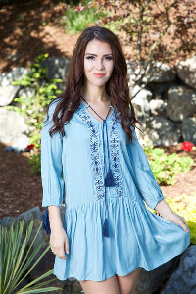 BLUE SKIES DRESS - BLUE - Red Gate Boutique