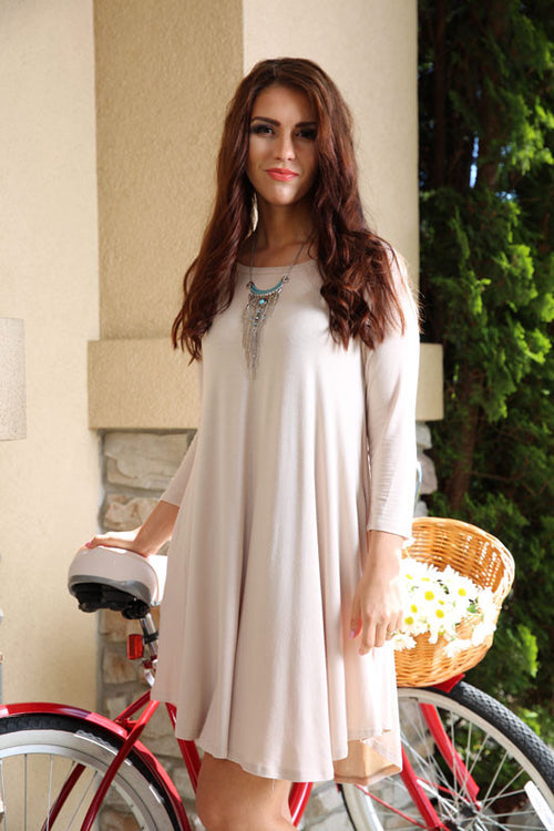 BUBBLY BLUSH TUNIC DRESS - CREAM - Red Gate Boutique