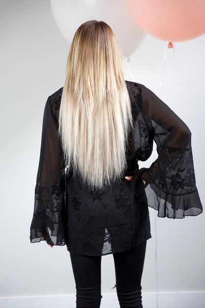 In the clear, sheer cardigan - black - Red Gate Boutique