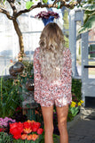 SNEAK OUT ROMPER - PEACH - Red Gate Boutique