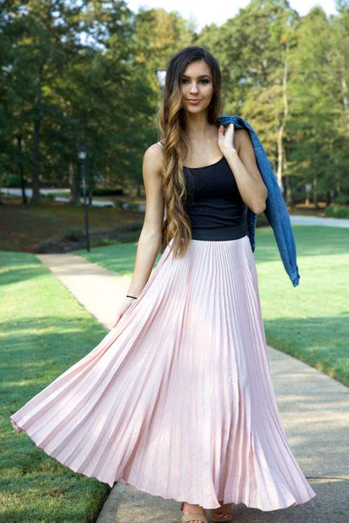 BOLD BEAUTY METALLIC SKIRT - DUSTY PINK - Red Gate Boutique