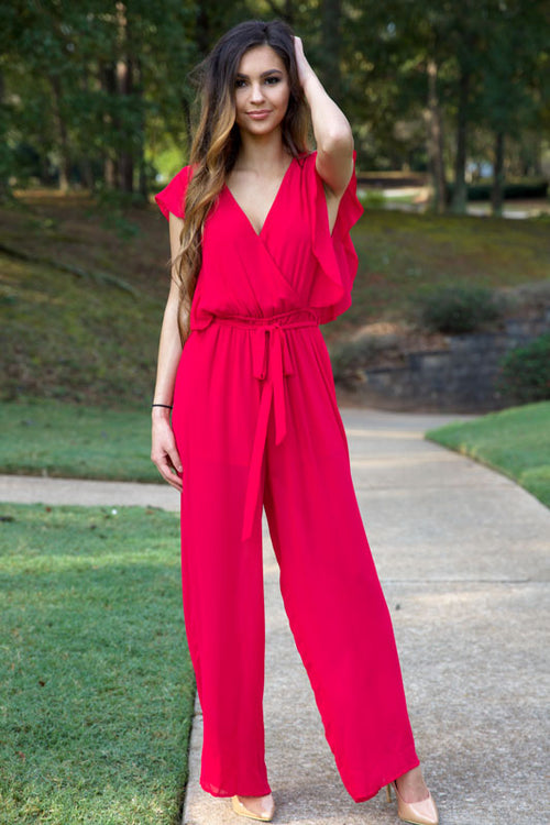 CHERRY ON TOP JUMPSUIT - BERRY - Red Gate Boutique