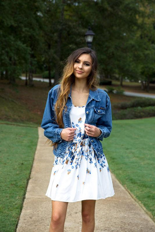 BLOOMING BLUES DRESS - WHITE - Red Gate Boutique