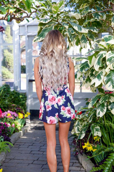 BLOOMING FLOWERS ROMPER - NAVY - Red Gate Boutique