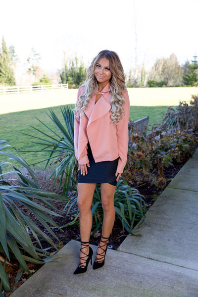 YOU GO GIRL JACKET - SALMON - Red Gate Boutique
