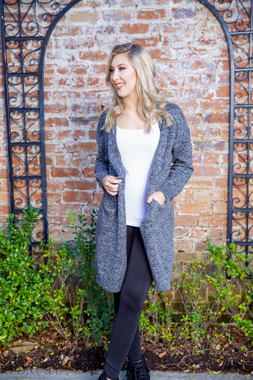 I have a secret cardigan - charcoal - Red Gate Boutique