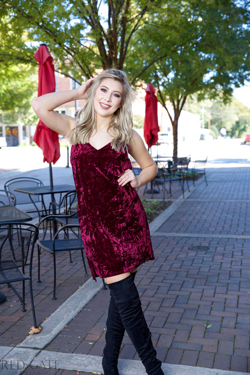 When i'm with you velvet dress - wine