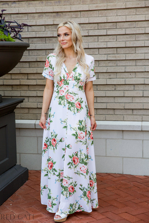 Out in the gardens Maxi Dress - white - Red Gate Boutique
