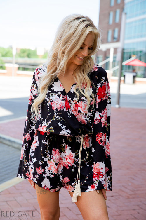 Spring morning romper - black - Red Gate Boutique