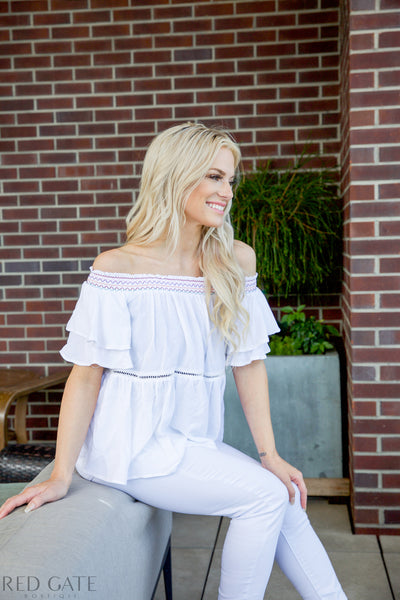 Summer Day Top - White - Red Gate Boutique