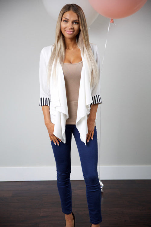 Casual business blouse - white - Red Gate Boutique