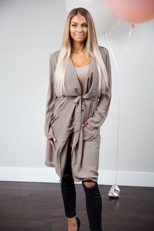 City lights trench coat - mocha - Red Gate Boutique