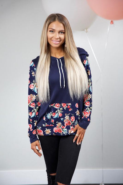 ALL SMILES HOODIE - NAVY - Red Gate Boutique