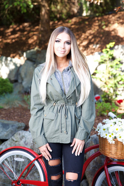 OLIVE YOU JACKET - OLIVE - Red Gate Boutique