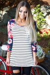 Stripes & roses top - navy - Red Gate Boutique