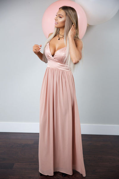 LEAVE THEM SPEECHLESS DRESS - DUSTY BLUSH - Red Gate Boutique