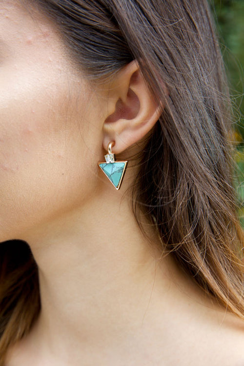 MY PRECIOUS STONE EARRINGS - TURQUOISE - Red Gate Boutique