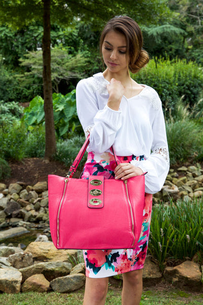 Girly chat handbag - fuchsia - Red Gate Boutique