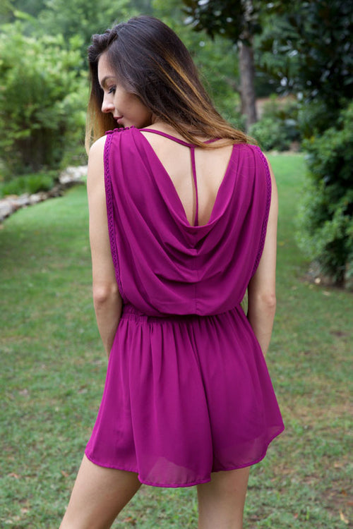 PRETTY IN PLUM ROMPER - PURPLE - Red Gate Boutique