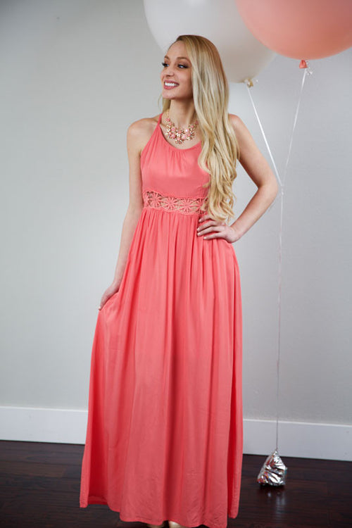 SIMPLY COMFORTABLE DRESS - CORAL - Red Gate Boutique