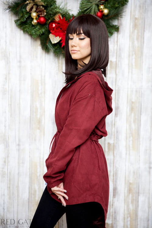 Let it rain jacket - burgundy - Red Gate Boutique