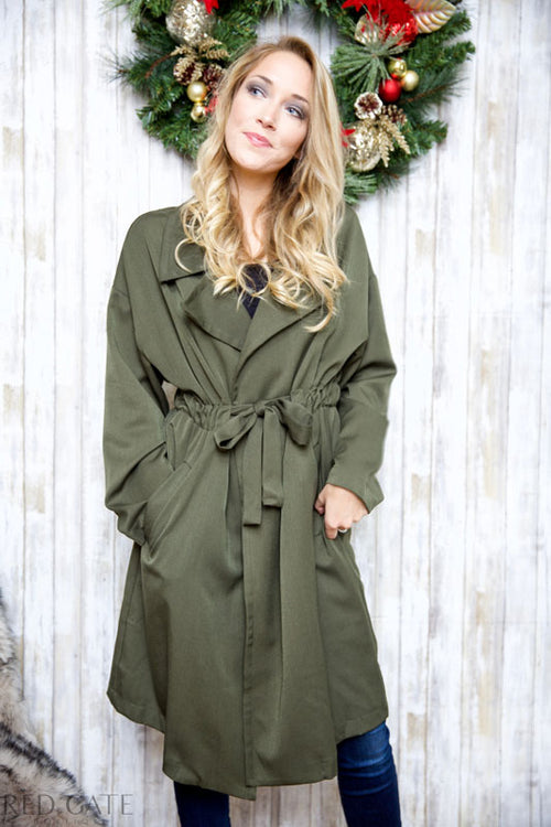 Walking in the winter wonderland trench coat - olive - Red Gate Boutique