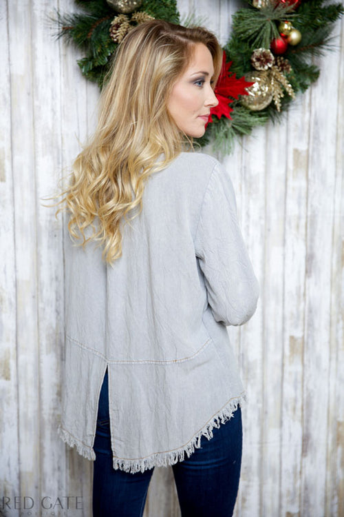 STAY WITH ME TOP - GRAY - Red Gate Boutique